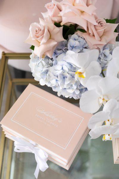 Luxury bridal shower invitation box in blush pink