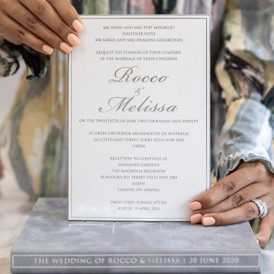 Elegant wedding invitation on premium card in luxury box