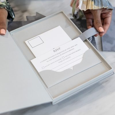 Luxury boxed wedding invitation with pocket for RSVP insert card