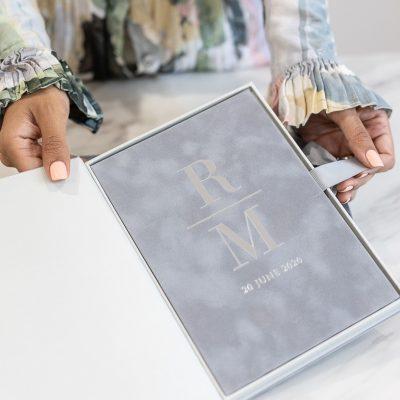 Modern grey suede wedding invitation with silver foil in luxury box
