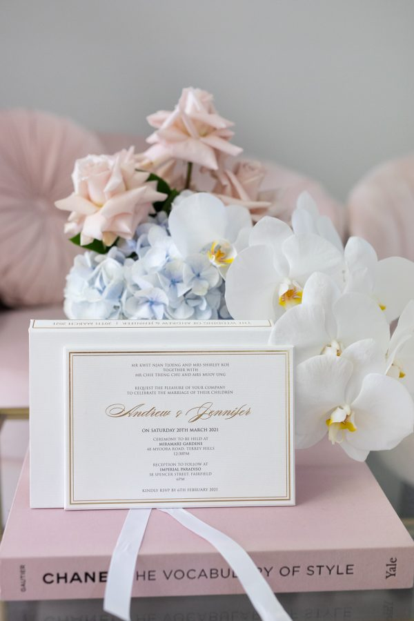 Regal wedding invitation with gold foil in luxury box