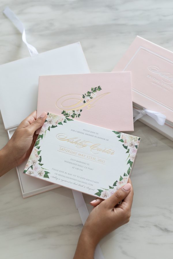 Blush pink floral bridal shower invitation for luxury event